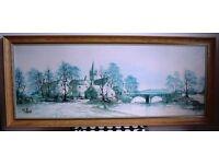 "Framed Print titled ""Hamlet Bridge"" by R Folland, size 121cm x 51cm"