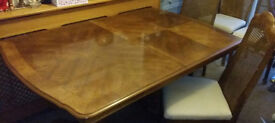 French style dining table and chairs, good quality heavy piece of furniture