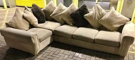 Sand Patterned Fabric Corner Sofa