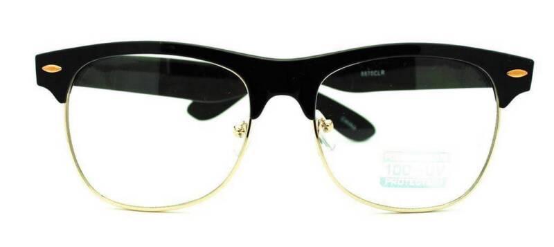 a99c9223c3a BLACK FRAME GOLD RIM CLUBMASTER NERD 80 S SUN GLASSES CLEAR LENS HALF  RIMLESS