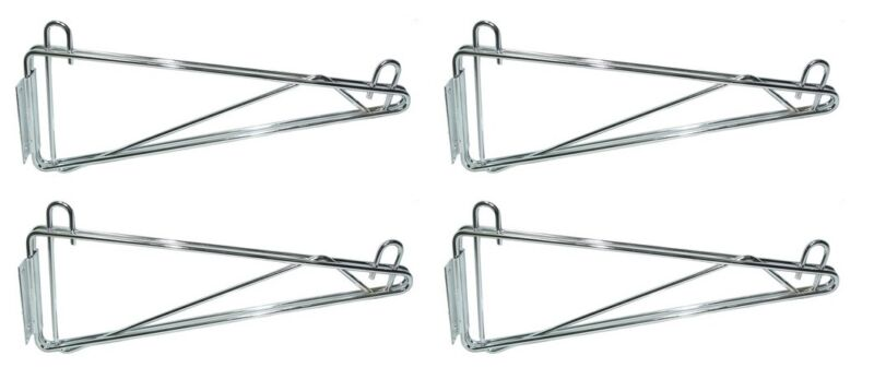All Sizes Commercial Chrome & Epoxy Coated Single Wall Brackets NSF - Set of 4