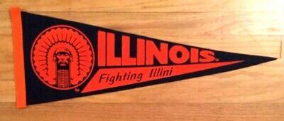 Vintage Illinois Fighting Illini Pennant Soft Felt - Raised Lettering 9 by 24