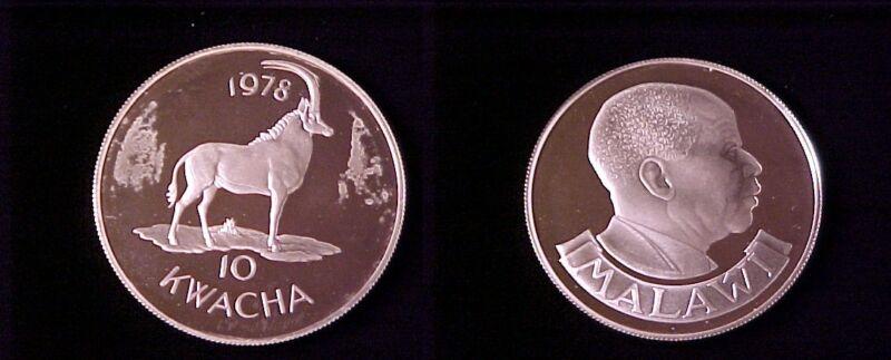1978 Zambia Large Proof Silver  10 Kwacha- Sable Antelope.
