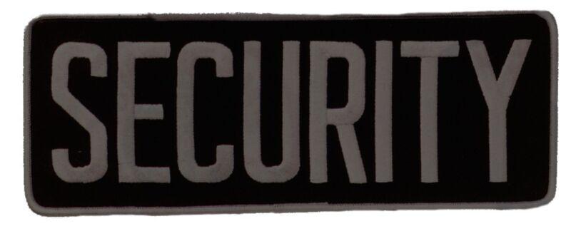 Large Security Back Patch Badge Emblem 11X4 Grey/black