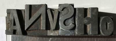 Lot 6 Metal Printing Press Typeset Block Letters Numbers Mixed Fonts Sizes 18a