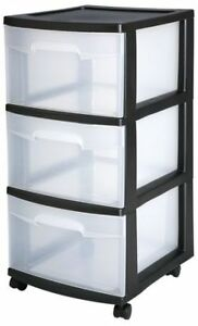 Two - Sterilize Wide 3 Drawer Black Size