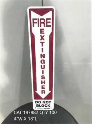 Pack Of 10 Do Not Block Fire Extinguisher Signs  Alumilite  Size 4w X 18l
