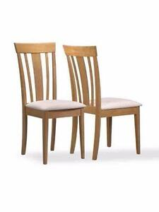 (2 AVAILABLE) New Monarch Specialties 2-Piece Dining Chair Set, Maple with Fabric Seats, PICKUP ONLY - PU8