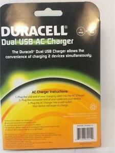 NEW Duracell Dual USB AC Charger DUX8215 for Phone, iPad, iPod, Tablet etc