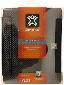 XtremeMac ThinFolio Protective Convertible Folio For iPad 2/3/4 - Black Carbon