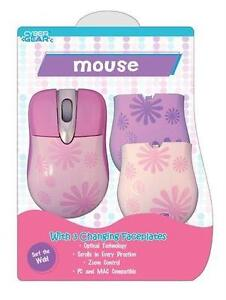 Sakar Girl Gear Pink Daisy USB Optical Mouse w/Faceplates for PC & MAC