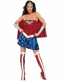 WONDER WOMAN FANCY DRESS SIZE M 12/14 INCLUDES DRESS ,CAPE AND BOOT COVERS