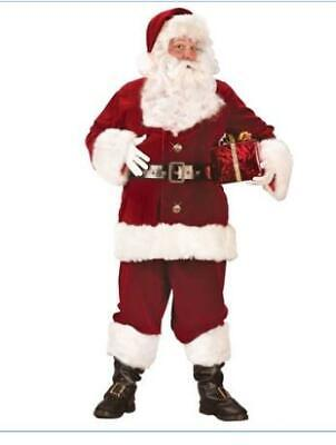 Super Deluxe Santa Suit Costume Jacket Pants Hat Boot Covers XL (Missing Gloves) ()