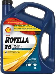Rotella (Shell) 0W 40  Diesel synthetic oil: $5 per litre!