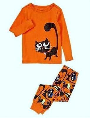 CRAZY 8 Orange Halloween Sparkle Black Kitty Cat Girls 2 Piece Pajamas PJs Sz 5 - Crazy 8 Halloween