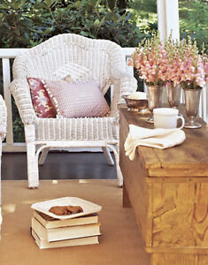 2 White Wicker Chairs- Shabby Chic