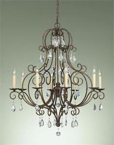 NEW FEISS 8 LIGHT CHANDELIER   Murray Feiss - Chateau Crystal Chandelier CEILING 480W Bronze LIGHTING FIXTURE 98752173