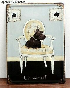 "Dog ""La Woof"" Vintage Style Wall Art Metal Sign"