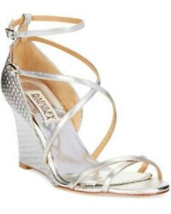 Chaussures Badgley Mischka Melaney II Silver Wedge - Size 8M