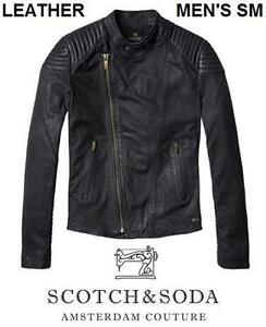 COTCH & SODA GENUINE LEATHER BIKER JACKET - MEN'S SM