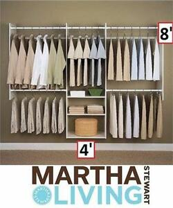 NEW*MSL DELUXE WHITE STARTER CLOSET MARTHA STEWART LIVING 4' FT x 8' FT WHITE FURNITURE STORAGE ORGANIZATION  81616133
