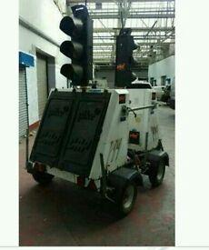 Solar powered traffic lights trailer twin