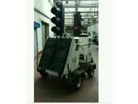 Solar powered traffic lights trailer twin