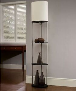 White Oval Shelf with Ivory Shade Floor Lamp