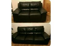 3+2 seater sofa in black leather mint mint condition