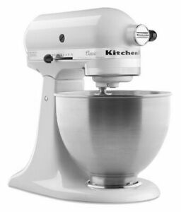 White KitchenAid stand mixer