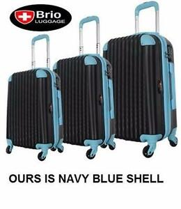 NEW BRIO 3 PC SPINNER LUGGAGE SET   3 PC LUGGAGE SPINNER NAVY SHELL AND BLUE SUITCASE TRAVEL BAGGAGE SUITCASE 96509676