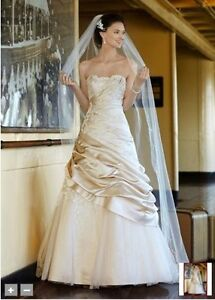 champagne A-line satin and tool wedding gown Cambridge Kitchener Area image 1