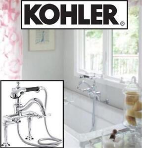 NEW* KOHLER BATH TUB FAUCET 110-4-CP 140225273 W/ HAND SHOWER ANTIQUE POLISHED CHROME