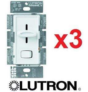 3 NEW LUTRON SINGLE POLE DIMMERS Skylark 600-Watt - Electrical Dimmers, Switches Controls  83901462