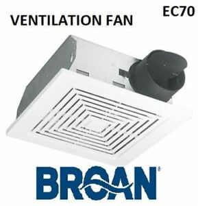 BNIB Bath Fan, 70 CFM Ventilation Exhaust Fan with White Grille