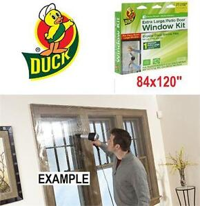 NEW DUCK WINDOW/PATIO FILM KIT XL INSULATES INDOOR EXTRA LARGE WINDOW/PATIO DOOR - HEAVY DUTY SHRINK FILM 75333338