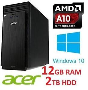 RFB* ACER ASPIRE AMD A10 DESKTOP PC ATC-220-ES51 140375019 COMPUTER AMD A10 7800 12GB RAM 2TB HDD WIN 10 OS