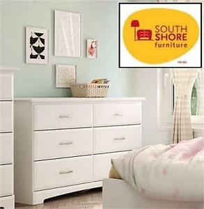 "NEW* SOUTH SHORE 6-DRAWER DRESSER WHITE - CALLESTO - 53.5""Lx17""Wx32.5""H DOUBLE DRESSER BEDROOM FURNITURE 95659808"