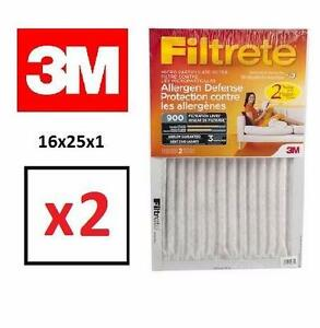 2 NEW 3M FT ALLERGEN FILTERS   Allergen Defense Micro Particulate Filter 2 Pack 16x25x1 HOME FURNACE  85414972