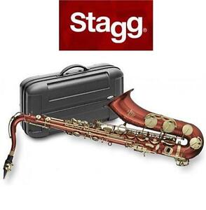 NEW STAGG B-FLAT TENOR SAXOPHONE WITH ABS CASE - RED BODY - Bb SAXOPHONE - MUSIC INSTRUMENT WOODWINDS   82481344