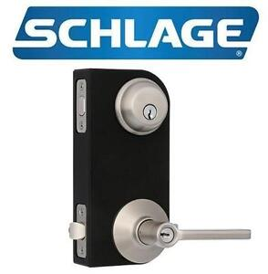 NEW SCHLAGE DEADBOLT SECURITY SET KEYED 1 SIDE, LATITUDE LEVER, SATIN NICKEL 105901229