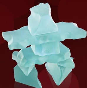 Frosted Jade Glass Inukshuk  with GiftBox and Description Card