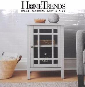 NEW HOMETRENDS STORAGE UNIT   GLASS DOOR STORAGE UNIT - GRAY FURNITURE HOME BEDROOM LIVING ROOM HALL DINING 86473687