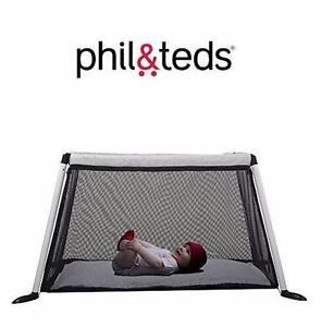 NEW PHIL & TEDS TRAVELLER CRIB PORTACOT SILVER BABY PLAYPEN NURSURY FURNITURE PLAYARDS 91842160