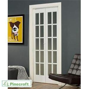 "NEW PINECROFT 24"" BI-FOLDING DOORS UNFINISHED PINE - 10 LITE OPAQUE FROSTED GLASS - CLASSIC FRENCH - STAIN OR PAINT"