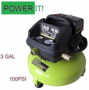 NEW OB POWER IT AIR COMPRESSOR   100PSI 3 GALLON OILLESS - COMPRESSORS POWER EQUIPMENT TOOLS 93922303