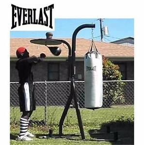 NEW EVERLAST 2 STATION STAND HEAVY BAG AND ADJUSTABLE SPEED BAG Exercise Fitness Boxing MMA  82064839
