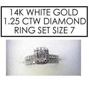 NEW* STAMPED 14K DIAMOND RING SET 7 179384 152841618 STAMPED 14K RPG JEWELLERY JEWELRY WHITE GOLD 1.25 CTTW