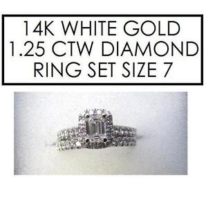 NEW* 2PC STMPED 14K DIAMOND RINGS 7 - 121460572 - STAMPED 14K RPG JEWELLERY JEWELRY WHITE GOLD 1.25 CTTW