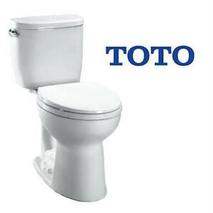 NEW TOTO ENTRADA 2 PIECE TOILET 1.28 GPF ELONGATED TOILET IN COTTON HOME IMPROVEMENT   80066313